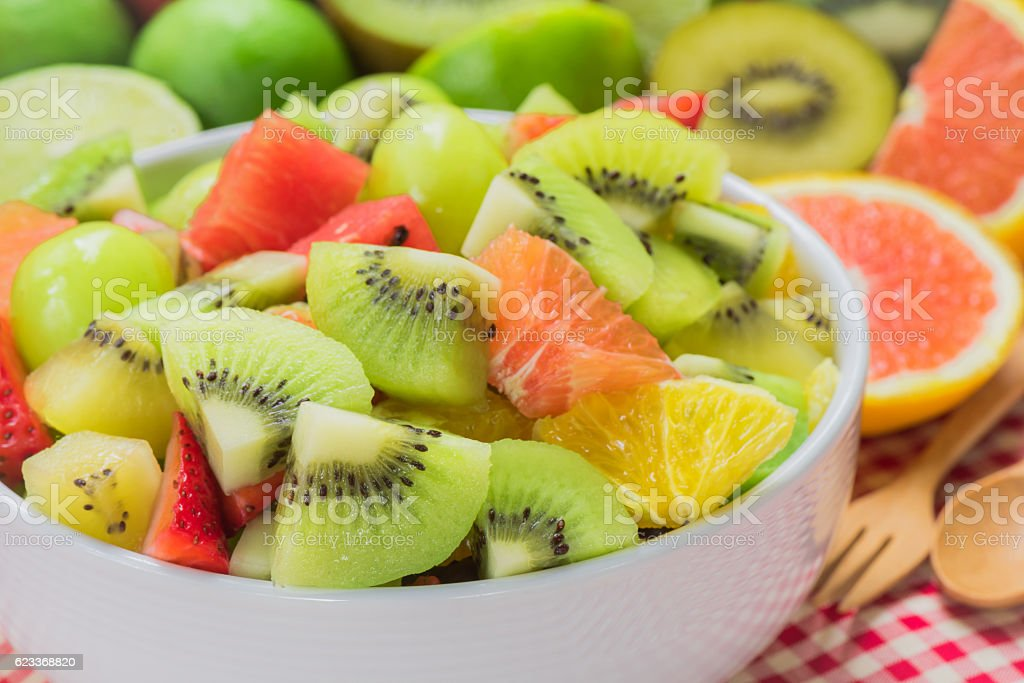 Fruit salad for healthy stock photo