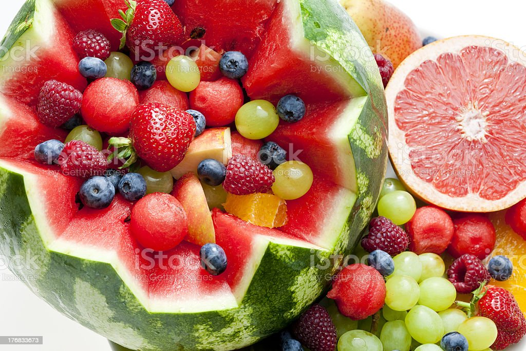 Fruit salad in a cut watermelon royalty-free stock photo