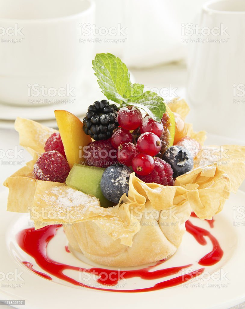 Fruit salad in phyllo dough. royalty-free stock photo