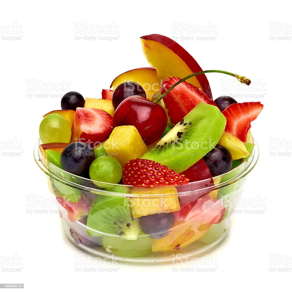 Fruit salad in takeaway cup stock photo