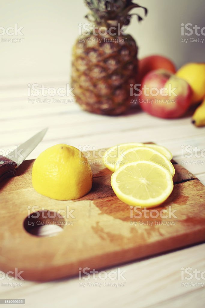 Fruit salad in the making royalty-free stock photo