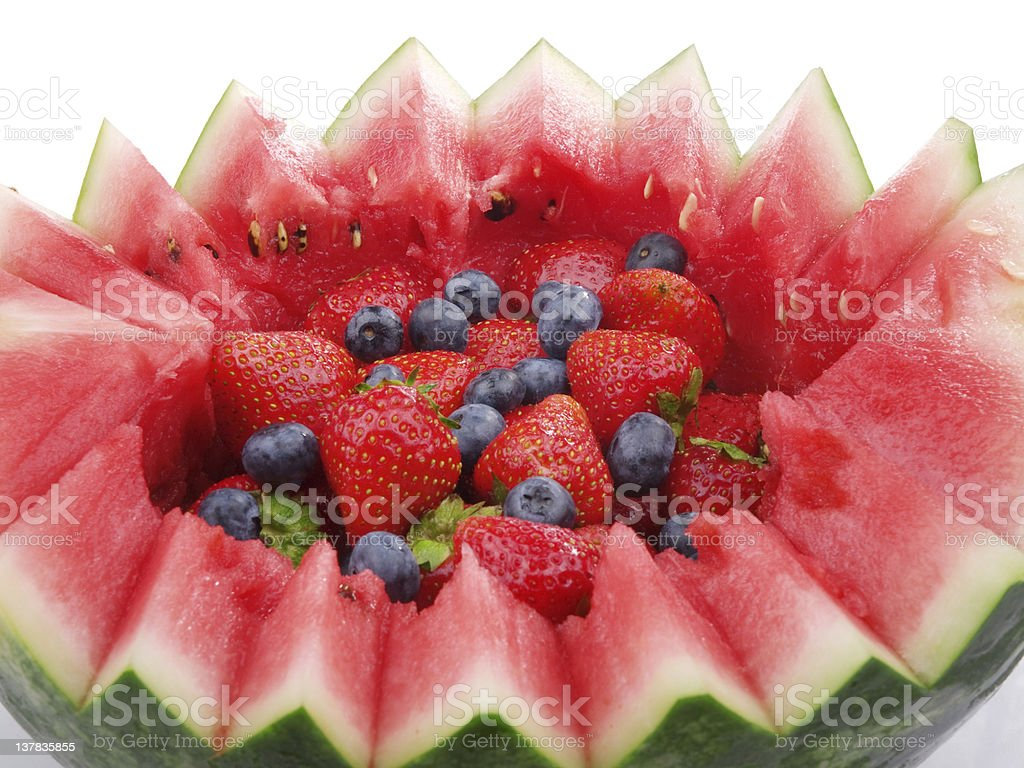 Fruit salad in watermelon royalty-free stock photo