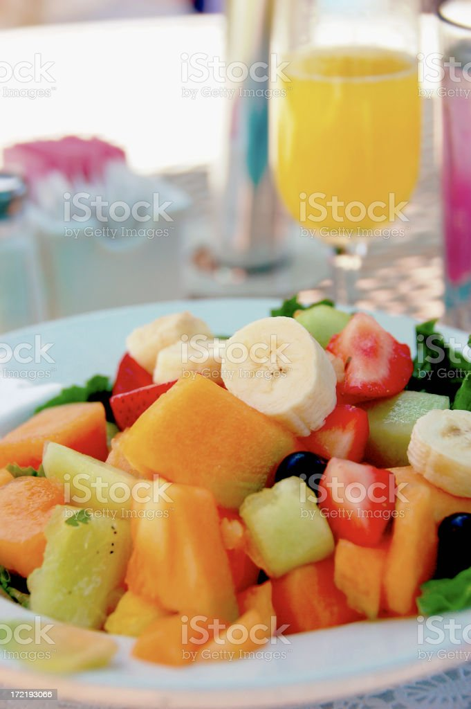 fruit salad with mimosa royalty-free stock photo