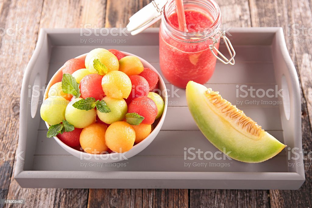 fruit salad with watermelon and melon ball stock photo