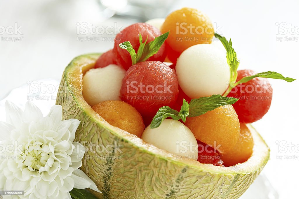 Fruit salad with watermelon and melon balls stock photo