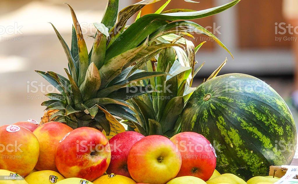 Fruit selection - apple and melon Lizenzfreies stock-foto