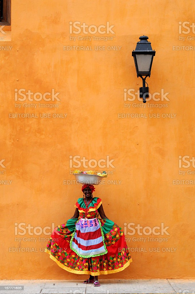 Fruit seller in Cartagena, Colombia stock photo
