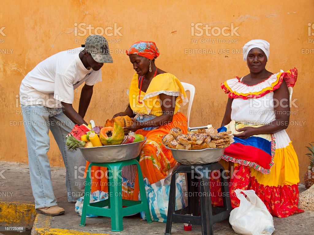 Fruit sellers, Cartagena, Colombia stock photo