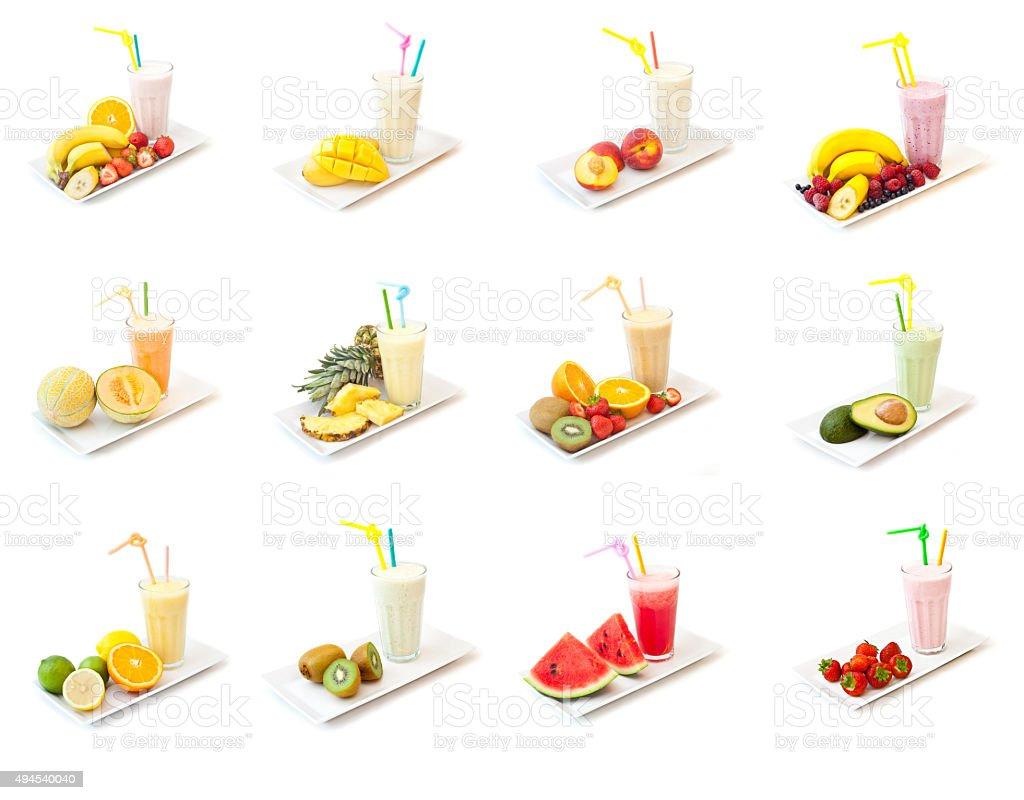 Fruit smoothie collection, melon, raspberry,pink,citrus,orange,banana, stock photo