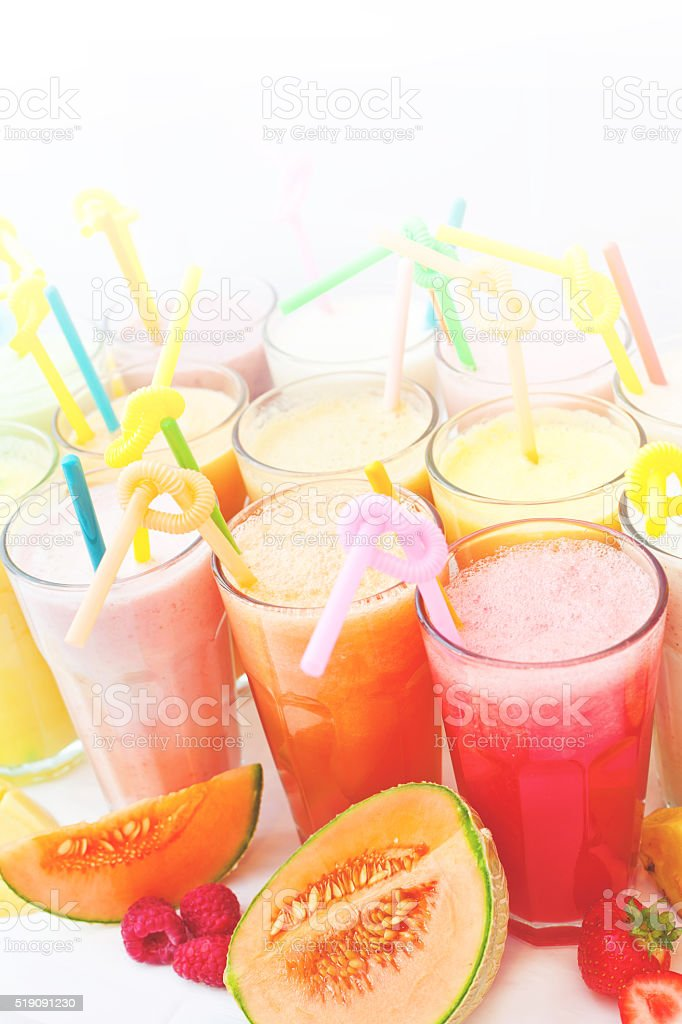 fruit smoothie collection stock photo