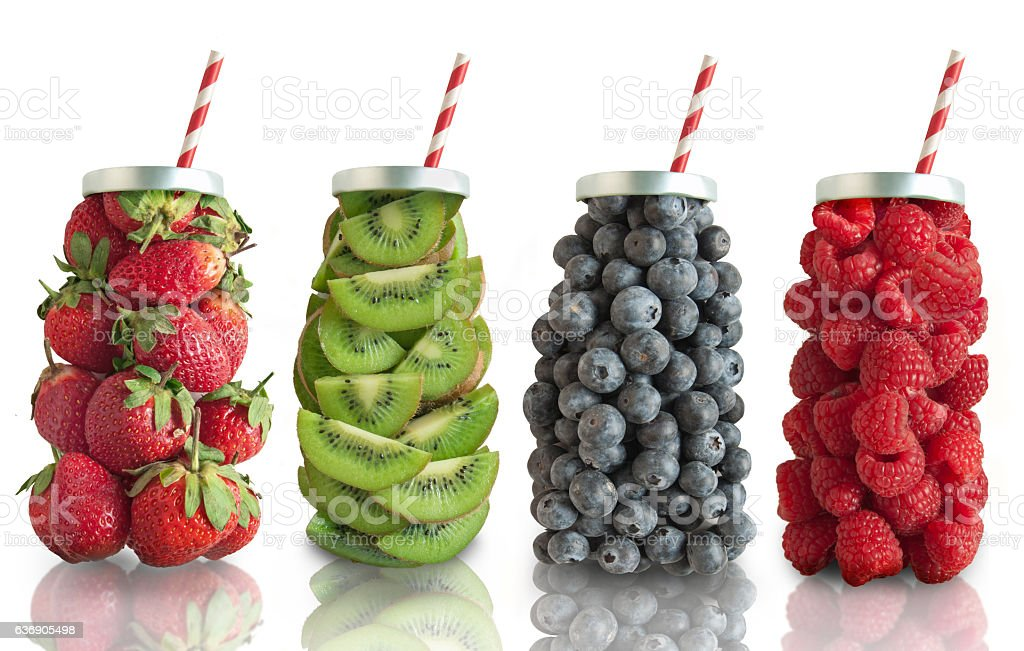 Fruit smoothie flavours concept stock photo