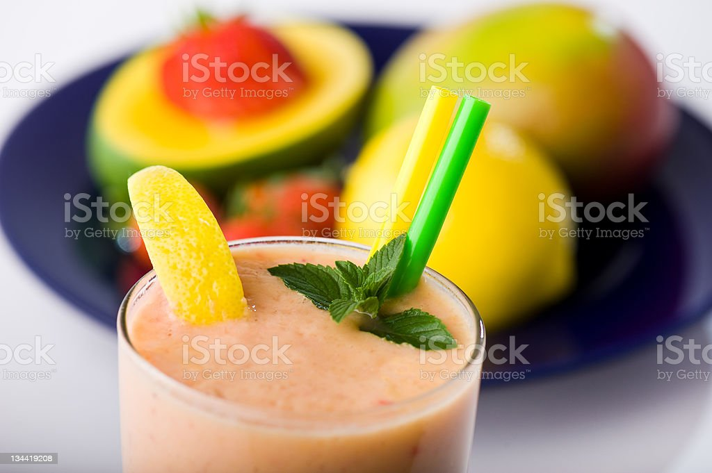 Fruit Smoothie Shake With Healthy Nutritious Ingredients royalty-free stock photo