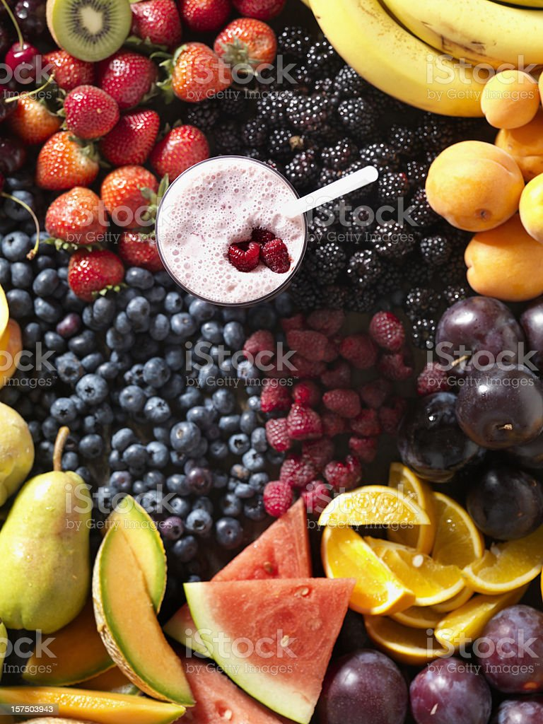 Fruit Smoothie with Ingredients stock photo