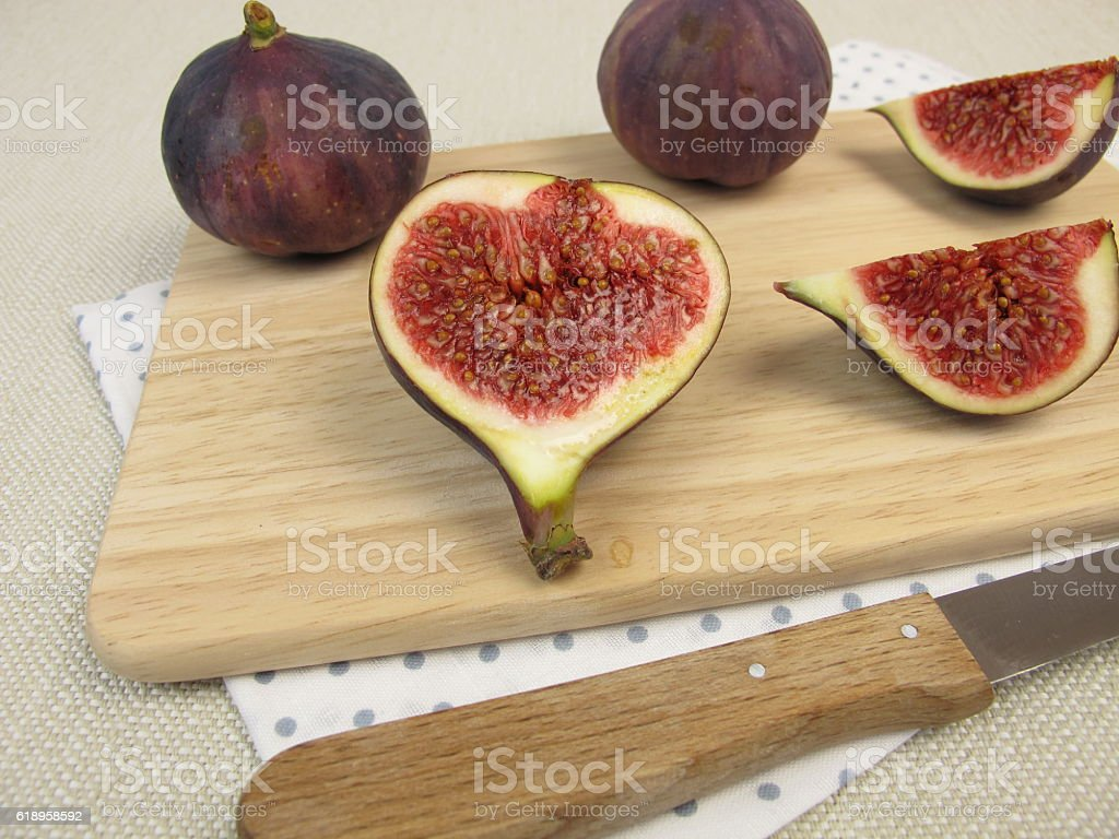 Fruit snack with fresh figs stock photo