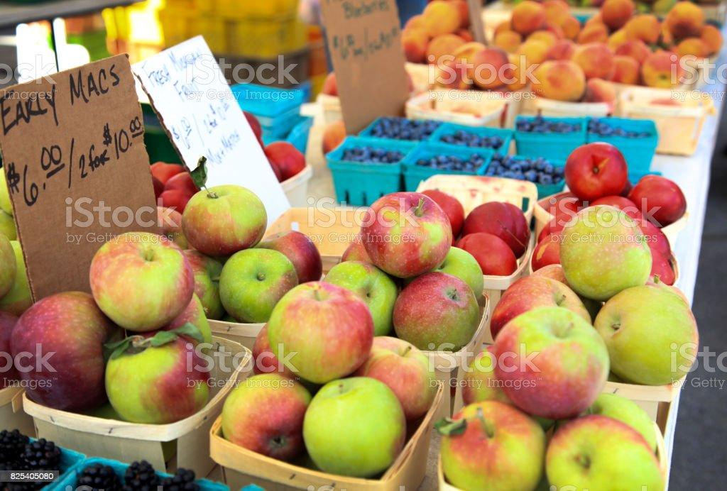 Fruit Stall at Farmer's Market stock photo