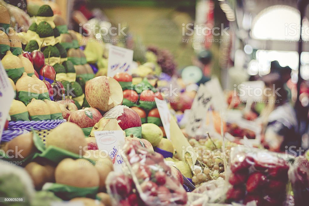 Fruit stall at the popular market stock photo