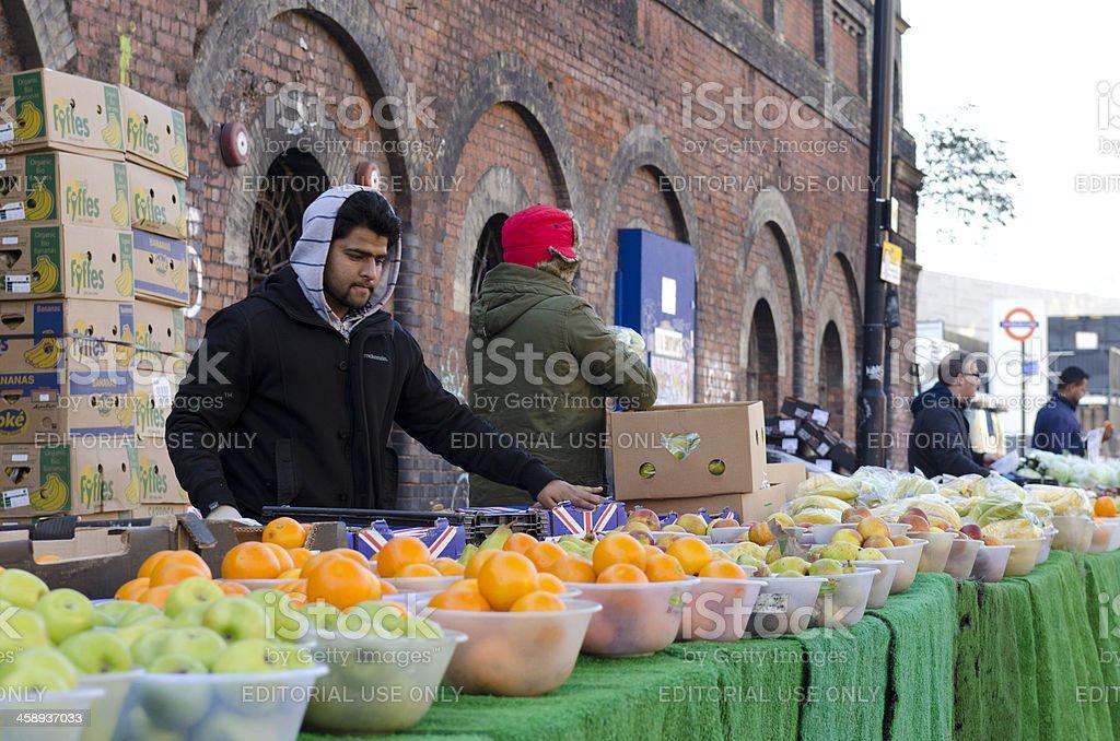 Fruit stall East End market, London stock photo