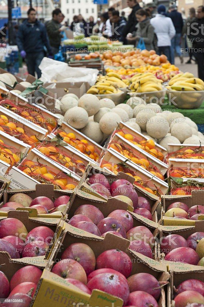 Fruit stall in Bricklane market. London, October 17, 2010 royalty-free stock photo