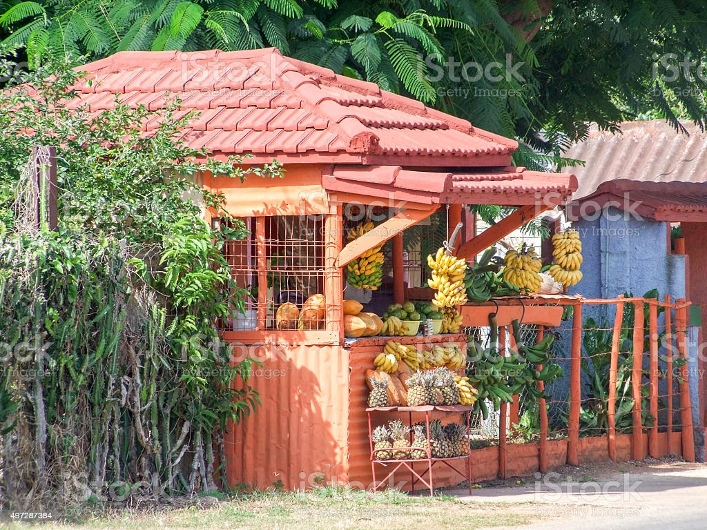 fruit stand in Cuba stock photo