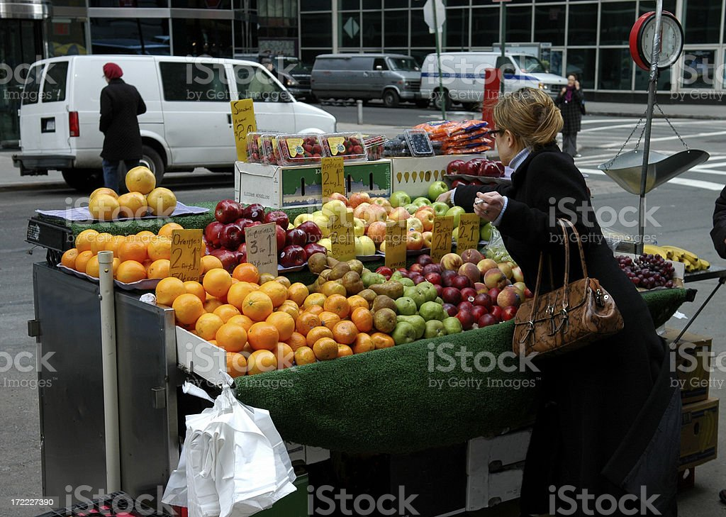 Fruit Stand in Manhattan stock photo