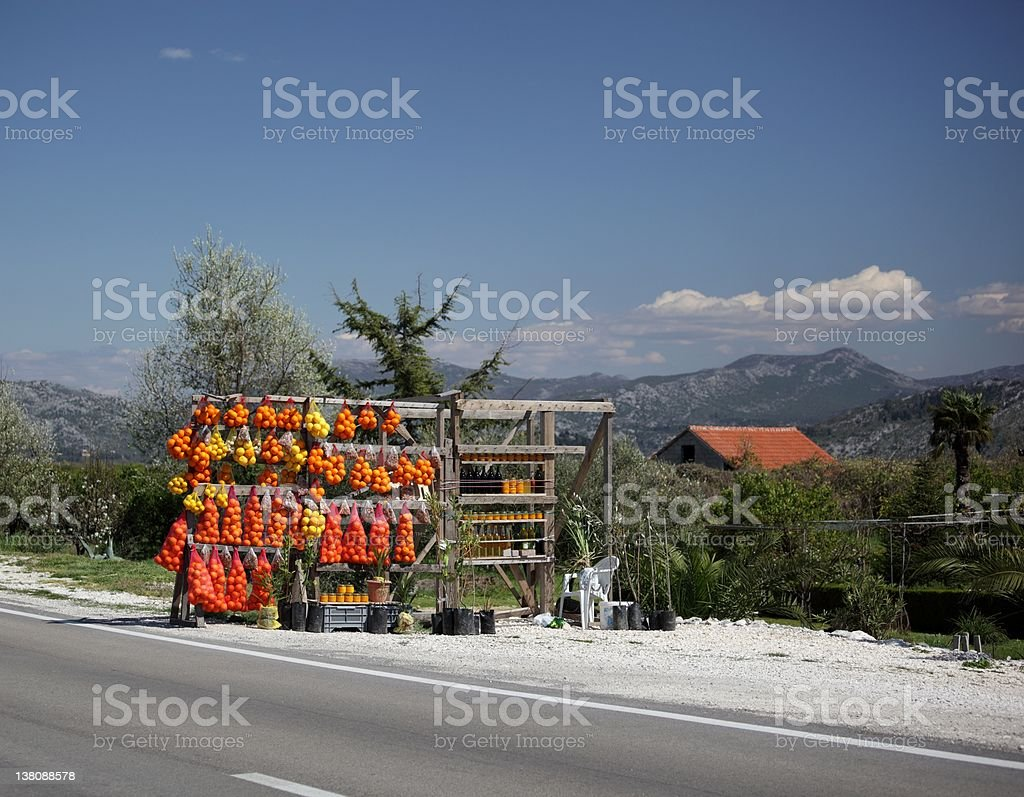 Fruit stand on road royalty-free stock photo