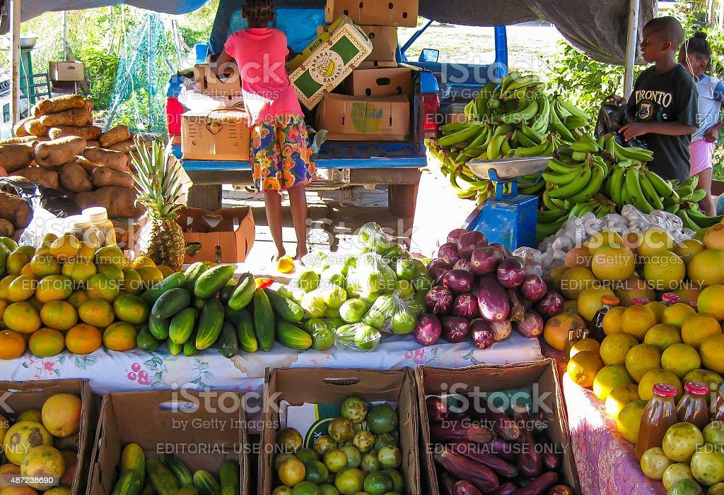 Fruit Stand on Saint Martin stock photo