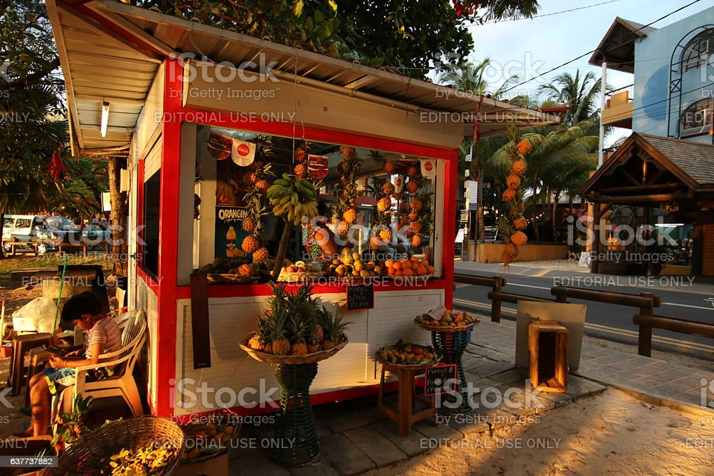 Fruit Stand selling fresh Pineapples, Grand Baie, Mauritius, Africa stock photo
