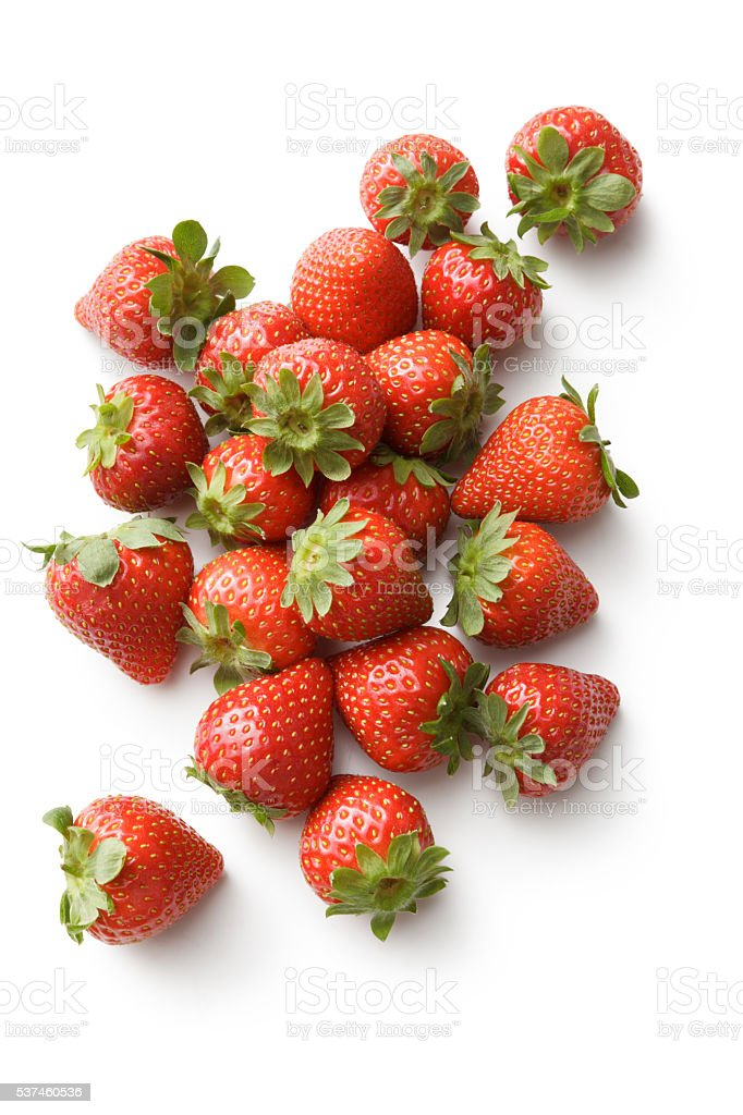 Fruit: Strawberries Isolated on White Background stock photo