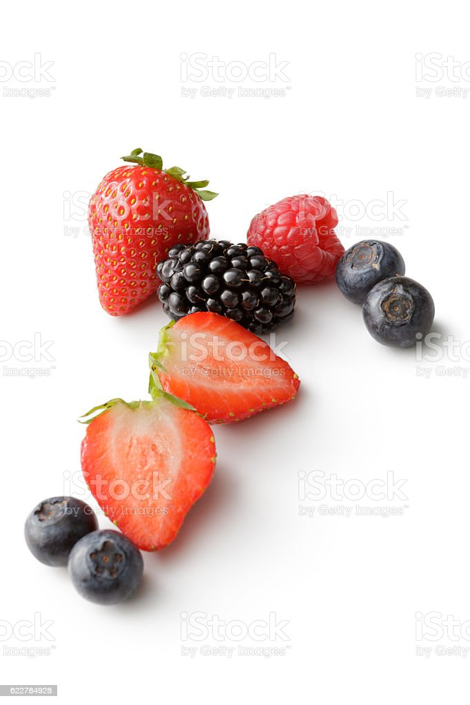 Fruit: Strawberry, Raspberry, Blueberry and Blackberry Isolated on White Background stock photo
