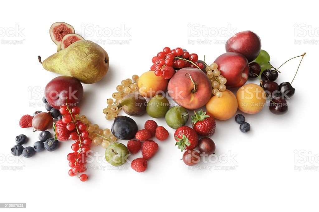 Fruit: Summer Fruit Isolated on White Background stock photo