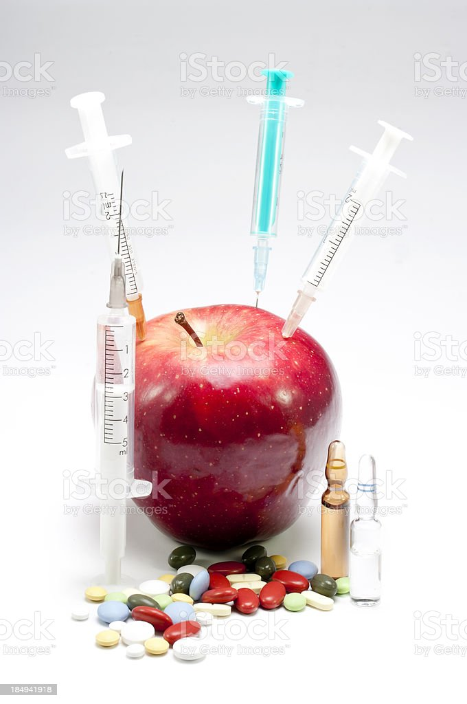 fruit, syringes and medicines royalty-free stock photo