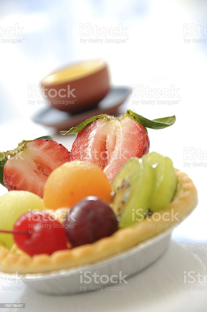 Fruit tart and Chinese tea royalty-free stock photo