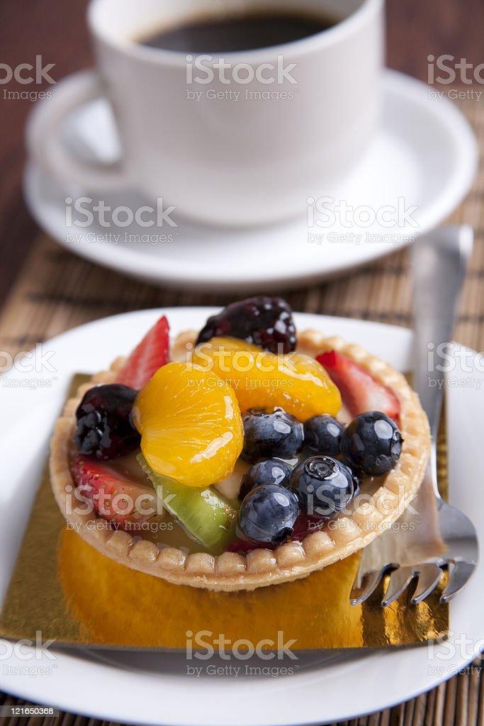 fruit tart and coffee stock photo