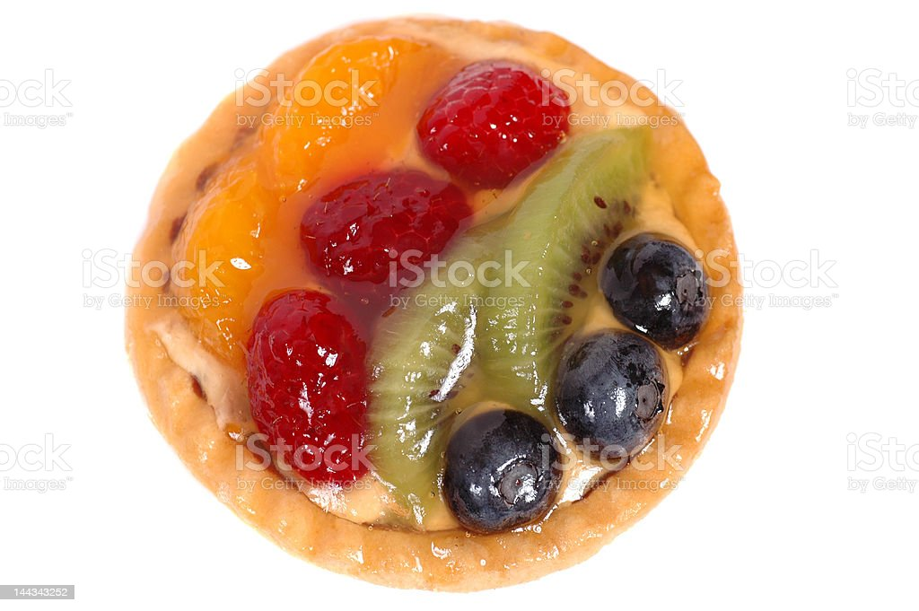 Fruit tart on a white plate royalty-free stock photo
