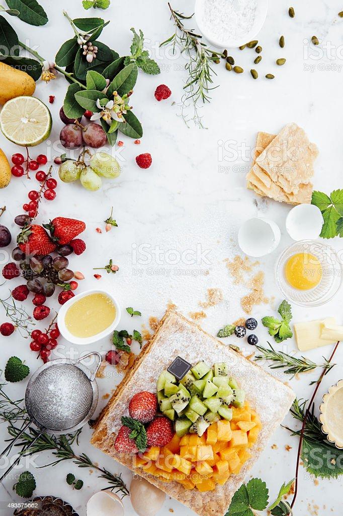 Fruit tart with Strawberry Kiwi Mango stock photo