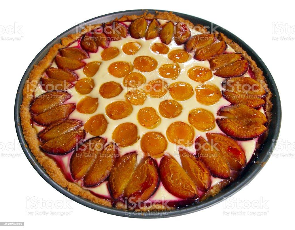 Fruit tarte with plums, mirabelles and custard stock photo