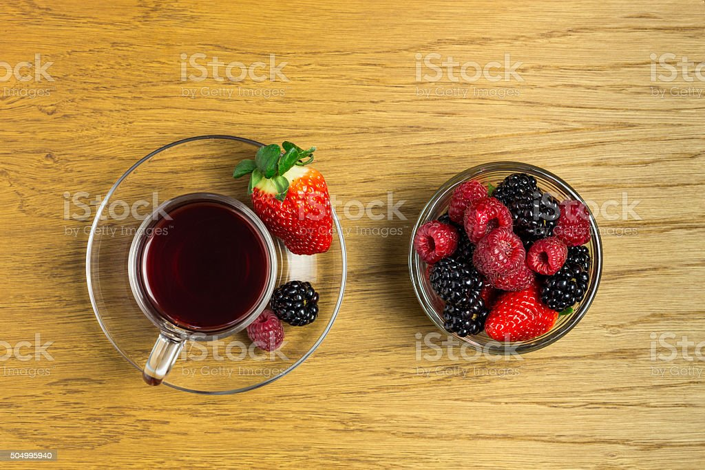 Fruit tea in glass cup royalty-free stock photo