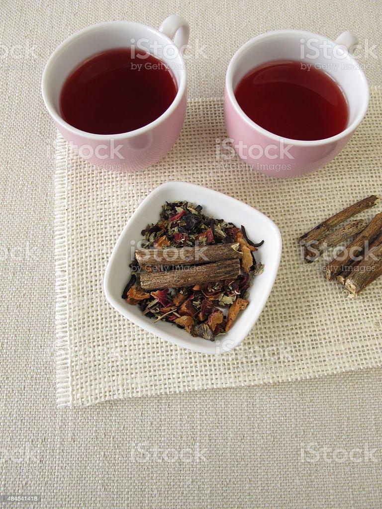 Fruit tea with licorice root stock photo