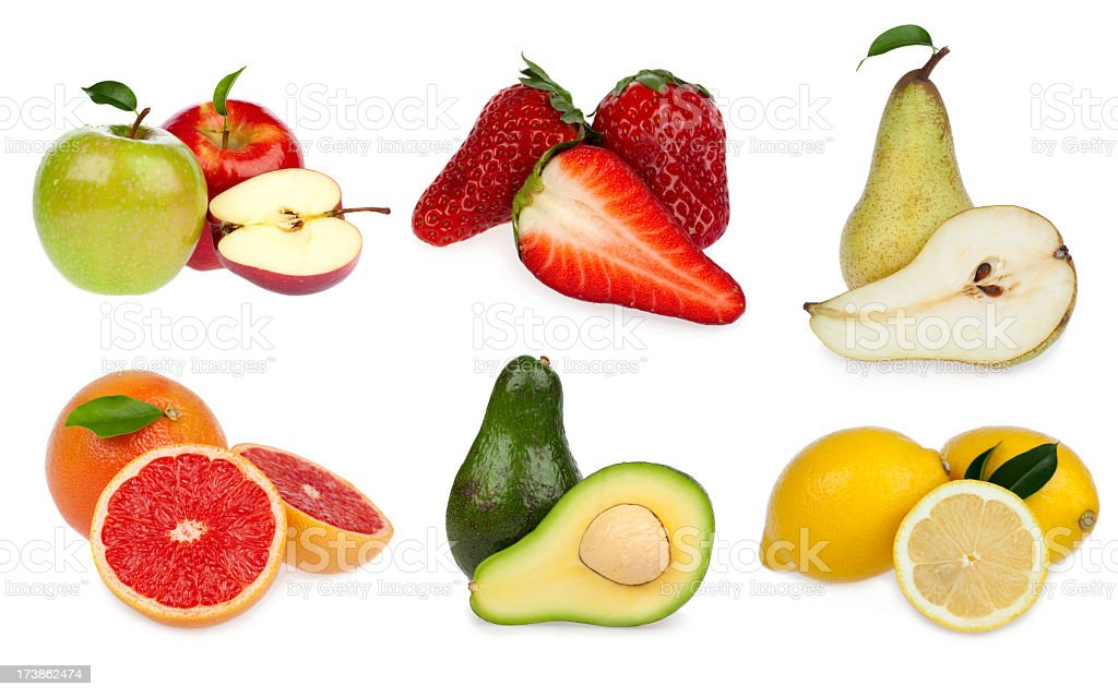 fruit vegetable composition open isolated on white royalty-free stock photo