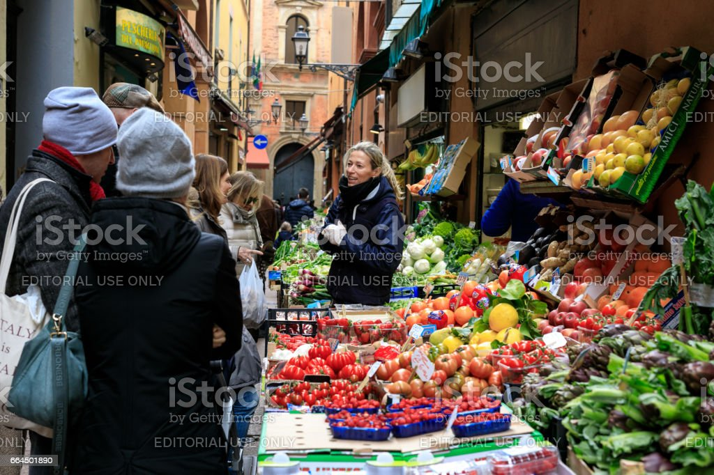 Fruit & Vegetable Market Stall, Bologna, Italy stock photo