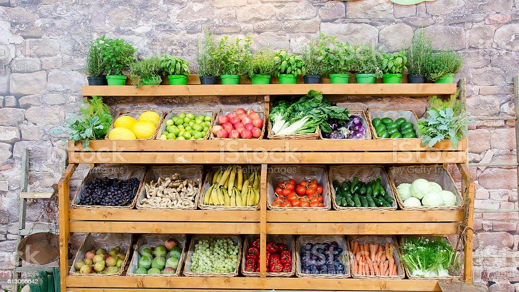 fruit vegetables shelves background stock photo