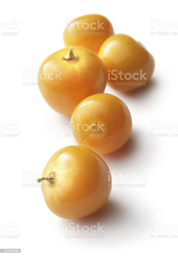 Fruit: Winter Cherries Isolated on White Background stock photo