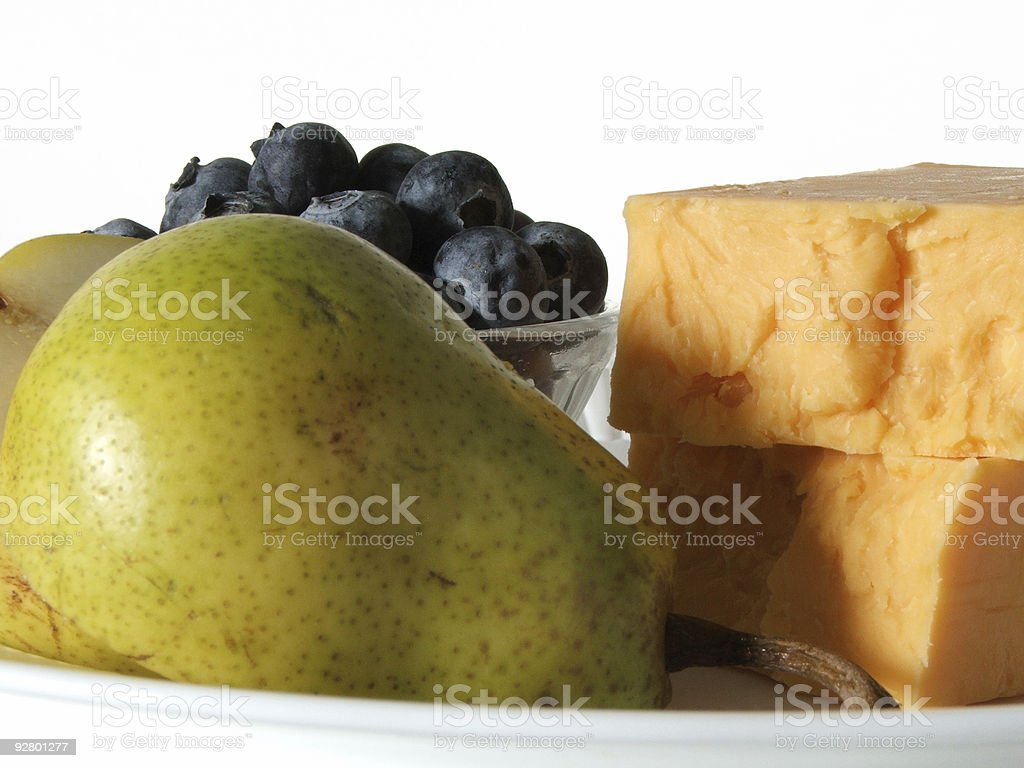 Fruit with cheese, isolated royalty-free stock photo