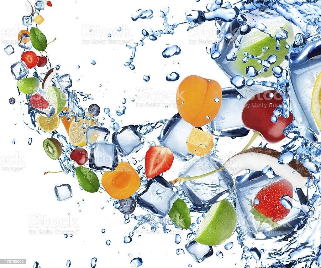 Fruit with splashing water royalty-free stock photo