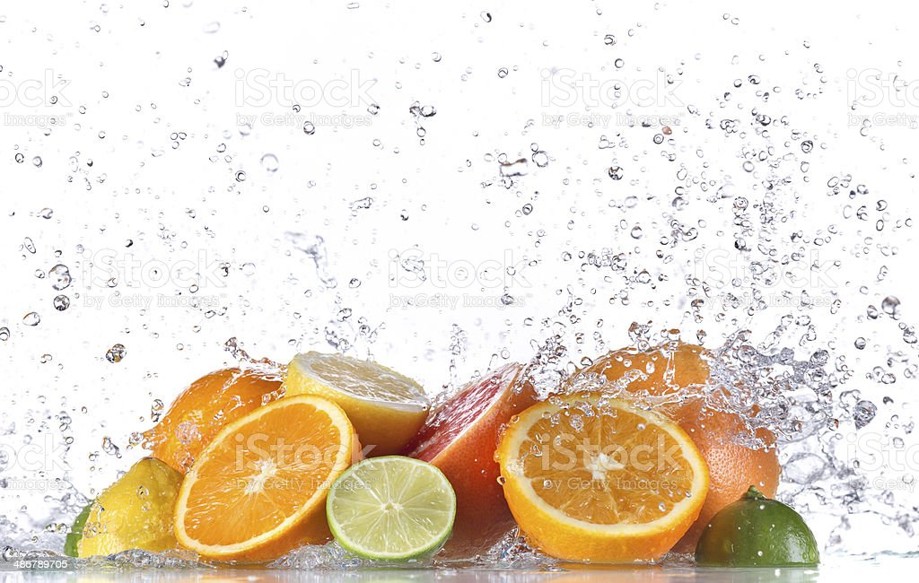 Fruit with water splash stock photo