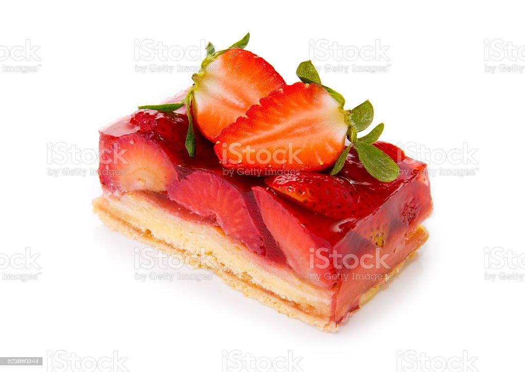 Fruitcake and strawberry isolated. stock photo