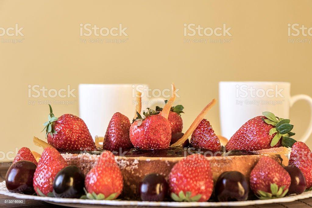 Fruitcake and tea stock photo