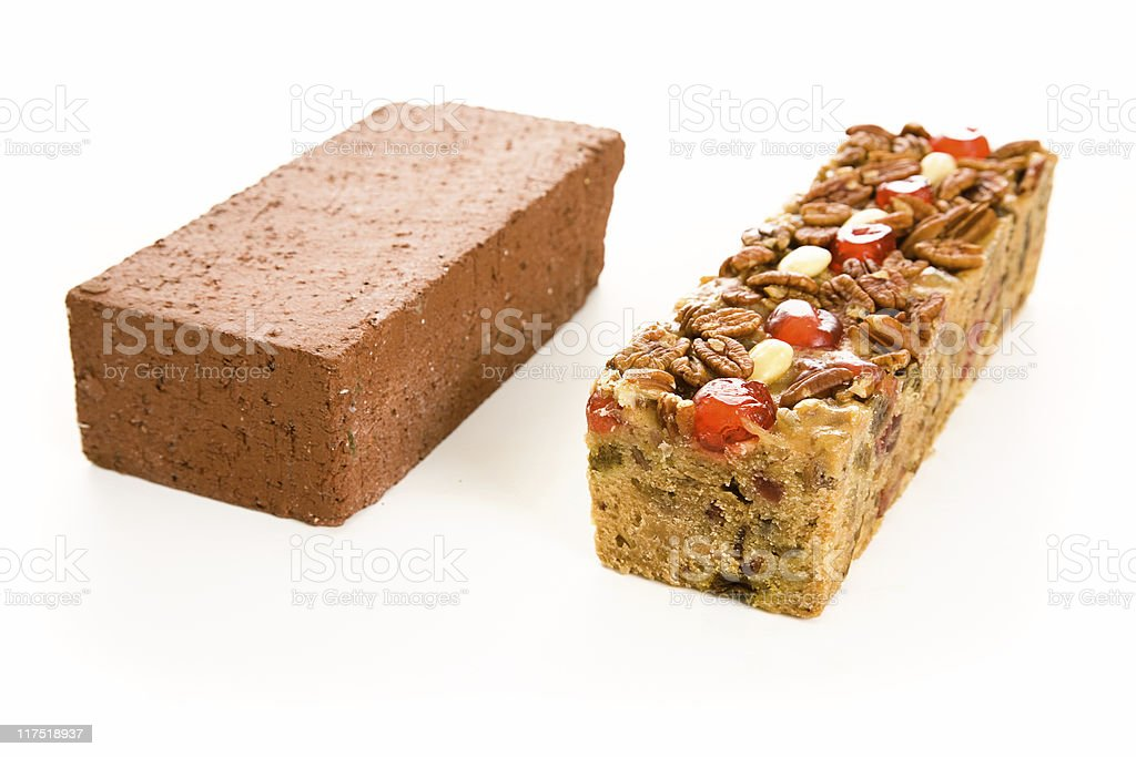 Fruitcake Brick Comparison royalty-free stock photo