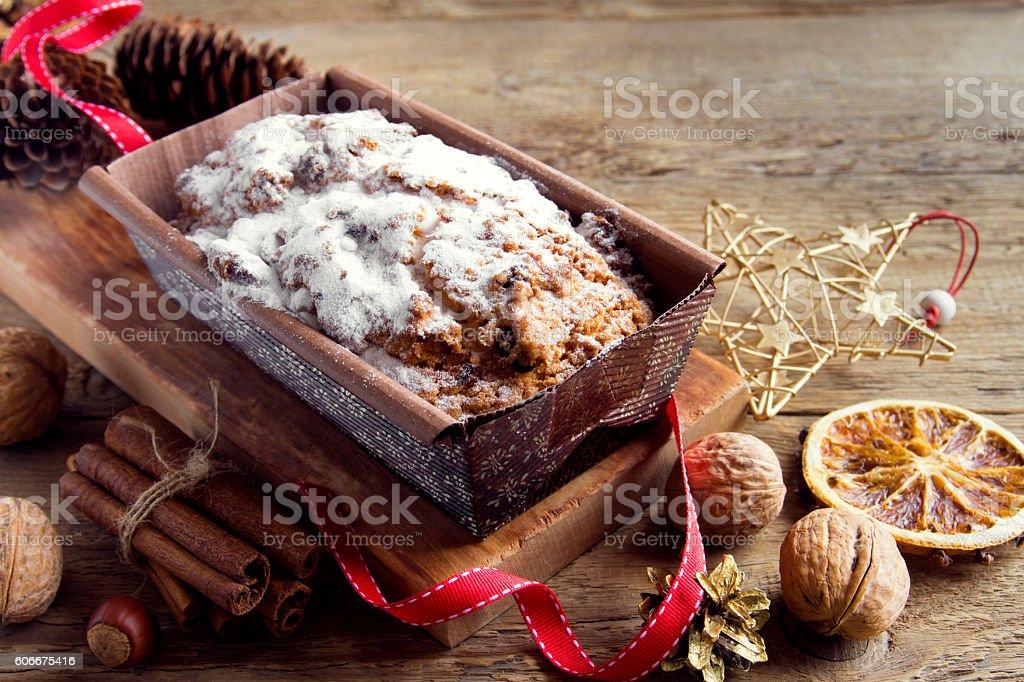 fruitcake for Christmas stock photo