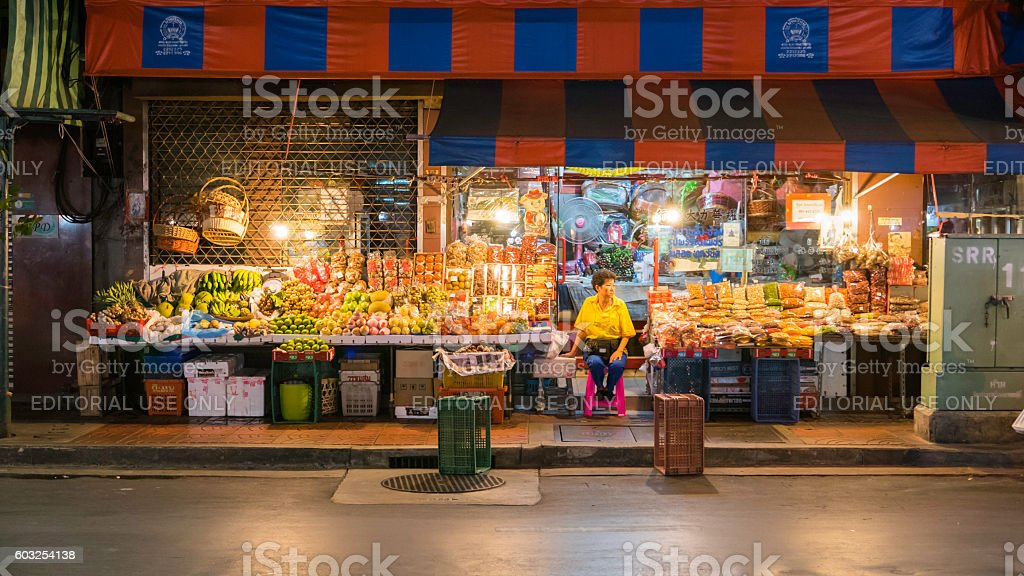 Fruiterer selling many types of fruit on china town (Yaowarat) stock photo